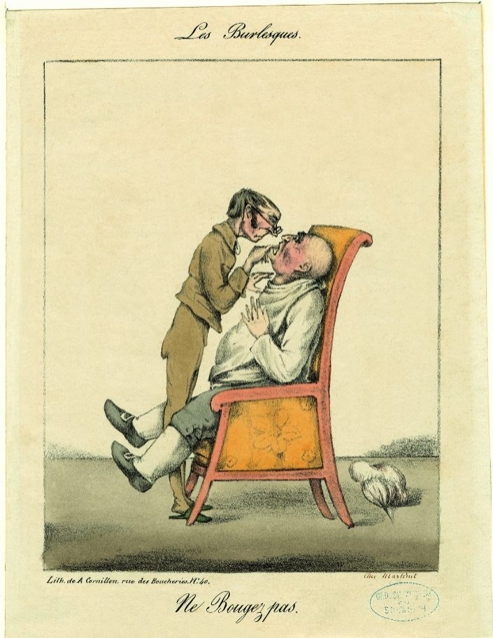 A. Cornillon Ne Bougez pas, 1823 litho, met de hand gekleurd, 186 x 140 mm