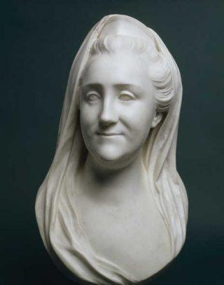 Marmeren borstbeeld van Catharina II uit 1769. Door: Marie-Anne Collot (1748-1821). Hermitage, Sint-Petersburg (boek p. 135).