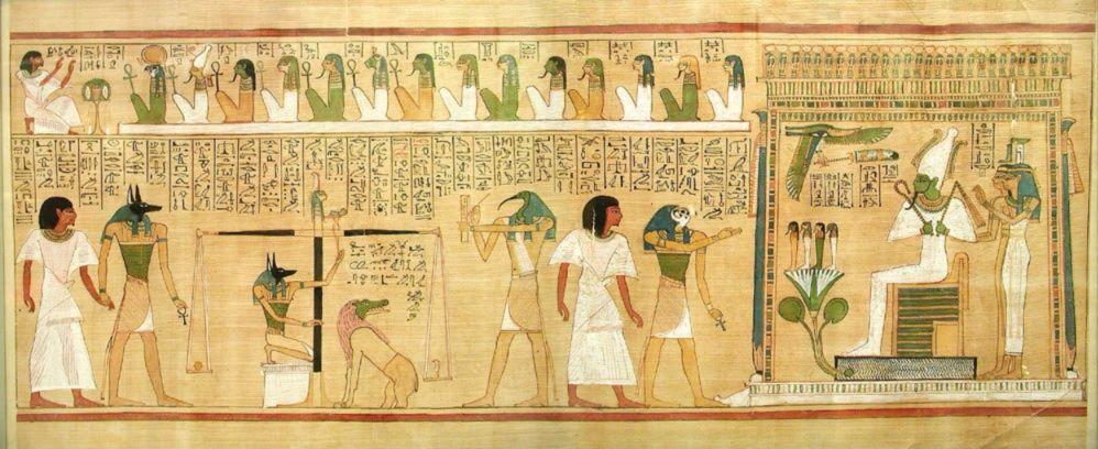 Fragment uit het papyrus van Hunefer met een voorstelling van het wegen van het hart