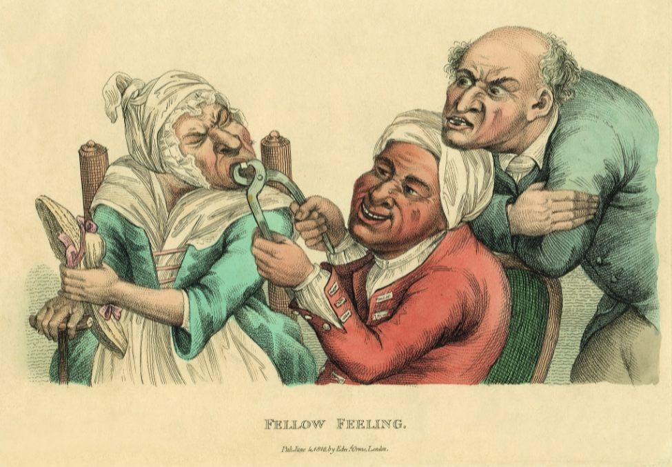 Timothy Bobbin Fellow Feeling, 1773 (editie 1810) ets, met de hand gekleurd, 160 x 210 mm