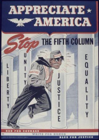 Amerikaanse poster uit de Tweede Wereldoorlog met verwijzing naar het begrip de vijfde colonne. - cc