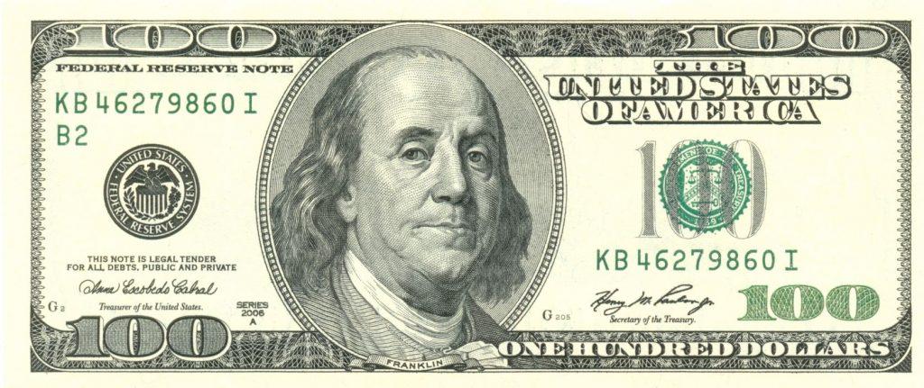 Benjamin Franklin op een 100-dollarbiljet