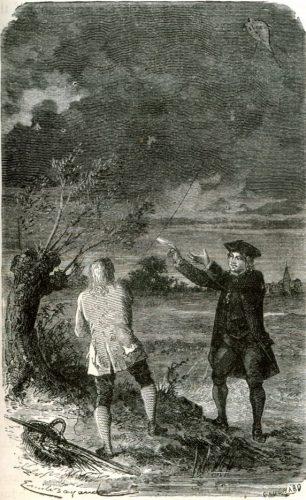 Benjamin Franklins vliegerexperiment bij een onweersbui