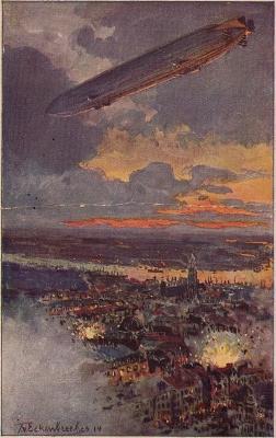 Bombardement op Antwerpen door een zeppelin - cc