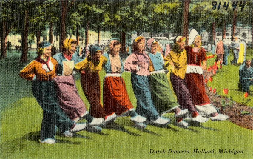 Een postkaart uit begin 19e eeuw met Hollandse dansers uit Michigan