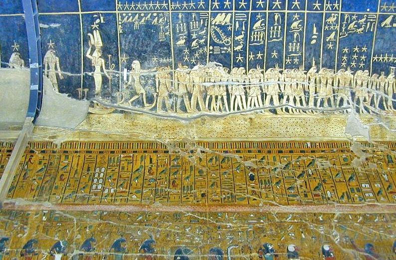 Muurschilderingen in het graf van farao Seti I