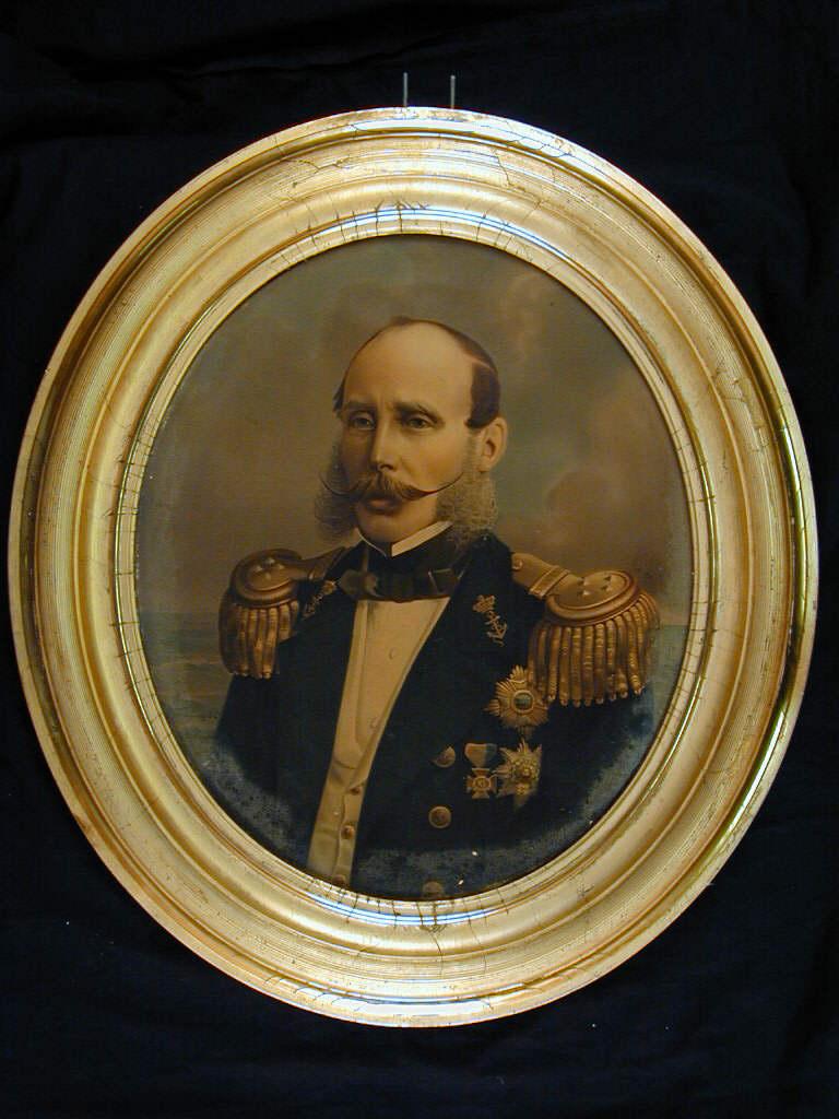 Portret van Prins Hendrik de Zeevaarder in het uniform van Luitenant-Admiraal. Oleografie naar geschilderd portret door W.B. IJzerdraad