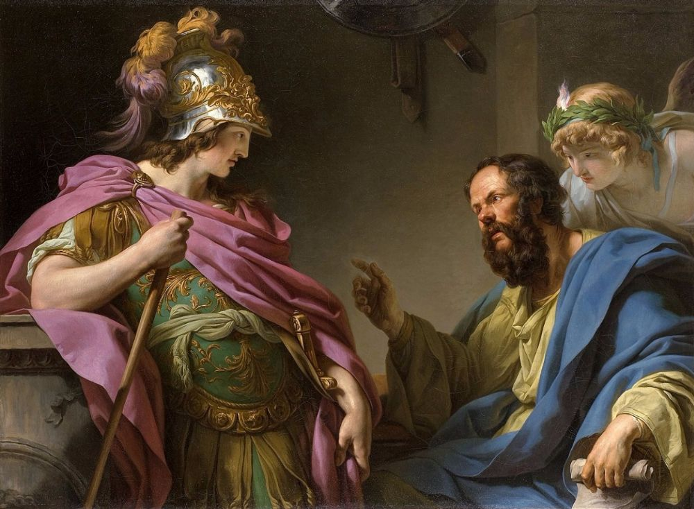 De filosoof onderwijst de Atheense politicus Alcibiades (François-André Vincent)