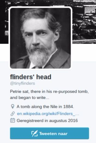 Twitteraccount van Flinders Petrie