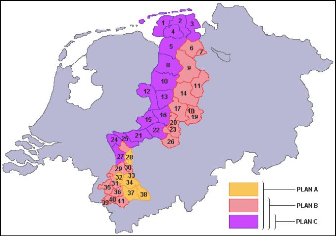 Bron: Nederlands Instituut voor Oorlogsdocumentatie, Amsterdam z.n. , z.p. Samengesteld vanuit de correspondentie in het Frits Bakker Schutarchief. Na de toewijzing van het Duitse grondgebied Nederland in 1949 (69 km2) kreeg Nederland het uiterste puntje van subregio 21, Elten (bij Zevenaar), en een deel onder nummer 35 toegewezen, Tüddern (nabij Sittard in Limburg).