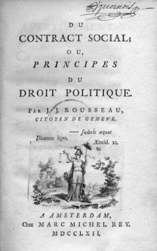 """Voorpagina van """"Du Contrat Social"""" uit 1762, gedrukt in Amsterdam."""