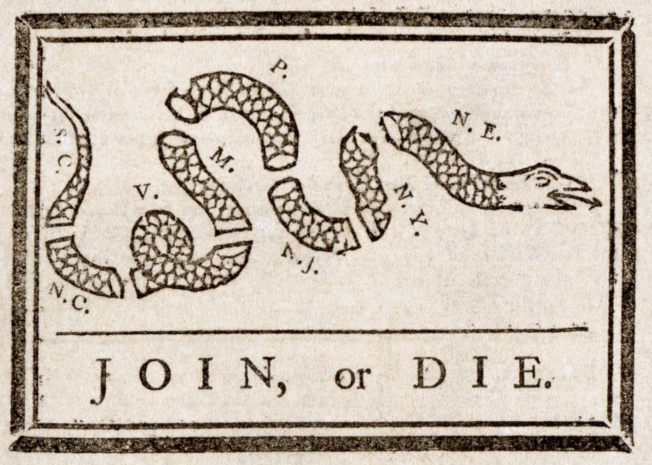 Join, or Die - Beroemde politieke cartoon van Benjamin Franklin uit 1754 waarmee hij het gebrek aan eenheid van de Britse koloniën illustreerde, Franklin pleitte voor meer onderlinge samenwerking.