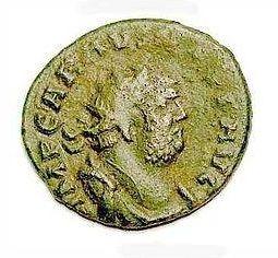 Munt met daarop de afbeelding van Carausius, die als medekeizer regeerde over Britannia en delen van Gallië in de periode 286-293 n.C. (Bron: Wikipedia)