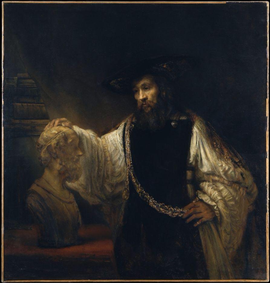 De filosoof peinzend bij een borstbeeld van Homerus (1653) door Rembrandt van Rijn