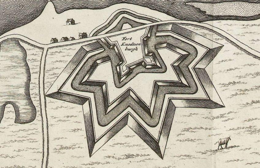 Het fort Knodsenburg omstreeks 1702.