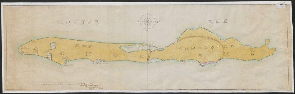 Schokland in 1788, links Ens (zuiden), rechts Emmeloord (noorden)