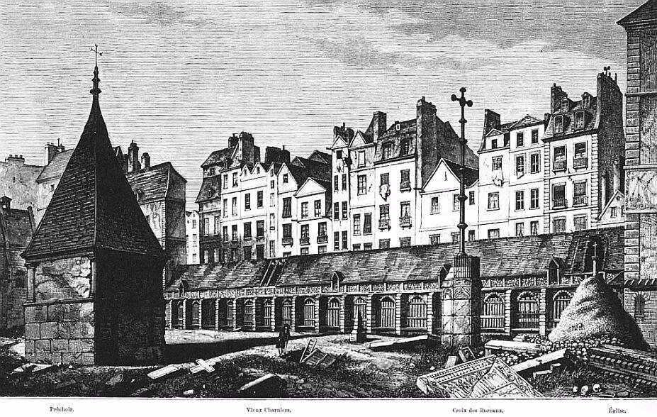 Afbeelding van het kerkhof van de Onschuldige Kinderen in Parijs. De tekening geeft de situatie weer omstreeks 1785, het jaar waarin de opruiming van het kerkhof begon. In 1787 was de opruiming klaar. (Bron: http://grande-boucherie.chez-alice.fr/Innocents.htm, z.j.)