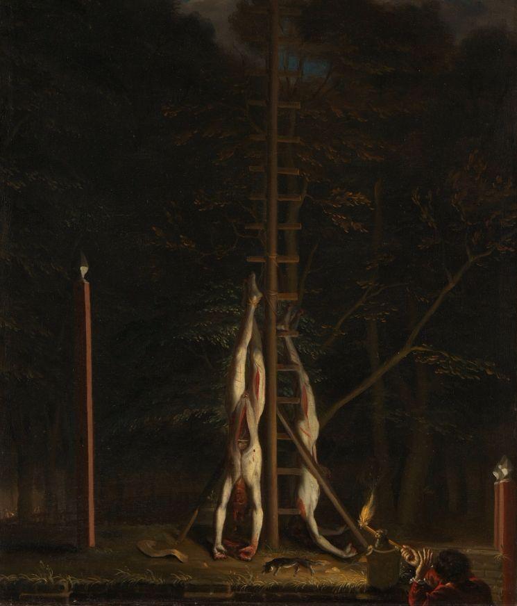 De verminkte lijken van de gebroeders De Witt, opgehangen op het Groene Zoodje aan de Vijverberg te Den Haag, 1672 (Jan de Baen) - Rijksmuseum Amsterdam