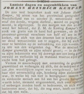 Bericht in de Rotterdamsche Courant van 27 november 1854