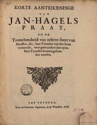 Korte aanteikeninge van Jan Hagel's praat