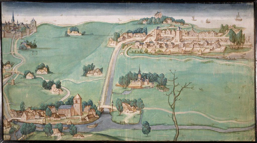De kaart van de Drie Schieën uit 1512. Linksboven Rotterdam, onder Overschie, rechts Delfshaven. (Atlas van de Schie)