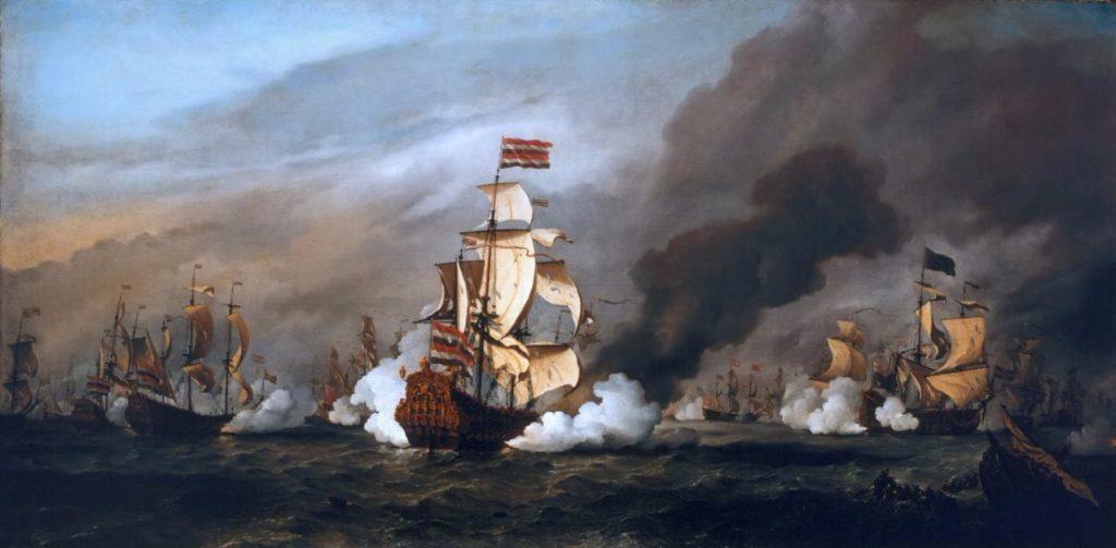 Slag bij Kijkduin in 1673 door Willem van de Velde