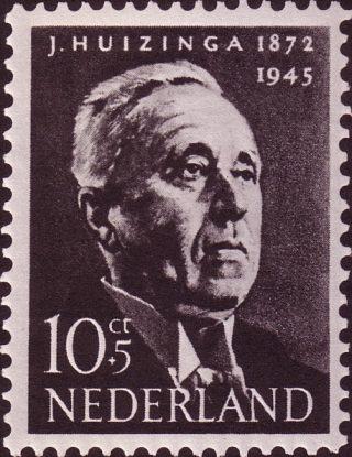 Postzegel uit 1954 met Johan Huizinga