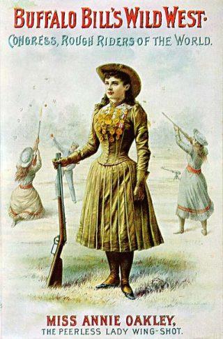 Annie Oakley op een poster van de Wild West Show