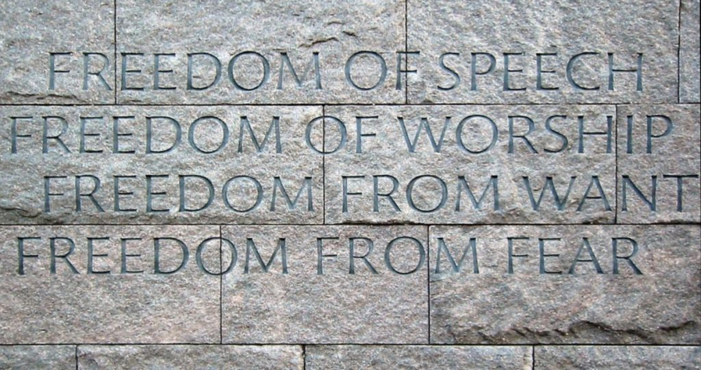 De 'Four Freedoms' op het Franklin Delano Roosevelt Memorial in Washington, D.C. - cc