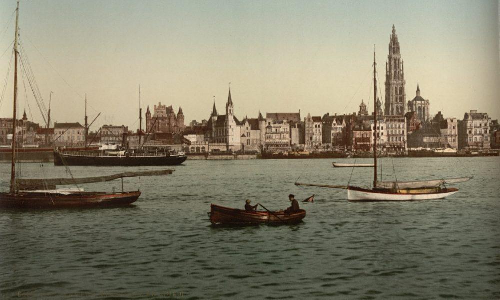 De Schelde bij Antwerpen, photochrom, ca. 1890-1900