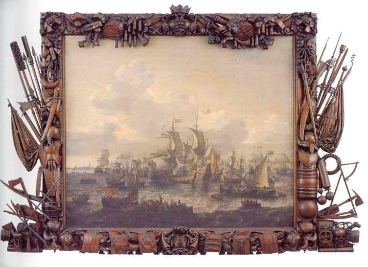 Schilderij van de slag door J. Blanckerhoff, lijst door J. Kinnema