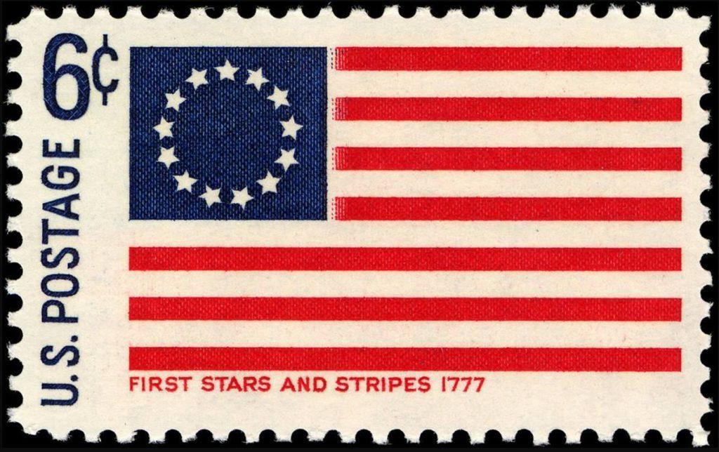 Postzegel uit 1968 met daarop de Betsy Ross-vlag