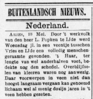 Krantenbericht over de ontdekking - De grondwet, 08-06-1897 (Delpher)