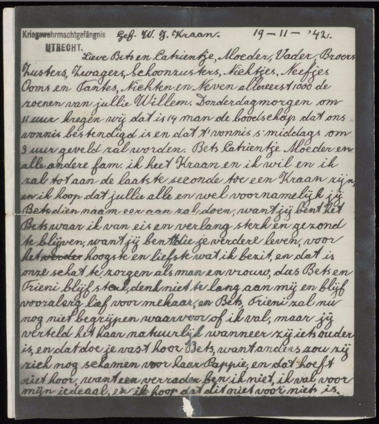 De afscheidsbrief van Willem Kraan (Stadsarchief Amsterdam)