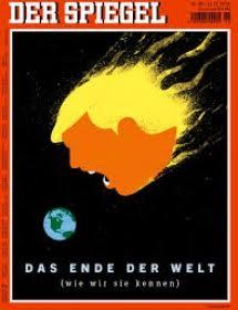 'Het einde van de wereld' kopte Der Spiegel toen in de VS Trump tot president was verkozen. Hij werd afgebeeld als een brandende meteoor, op weg naar de aarde.
