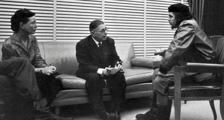 Simone de Beauvoir en Jean-Paul Sartre in gesprek met Che Guevara, Cuba 1960