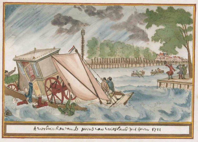 Wapen t verdrinken van de prins van vriesland int jaar 1711, Atlas Schoemaker: Friesland, 1710-1735
