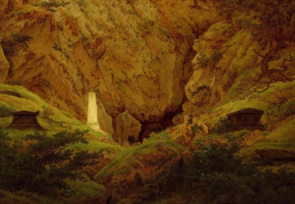 """Grabmale alter Helden"", geschilderd door Caspar David Friedrich in 1812 – Hamburger Kunsthalle"