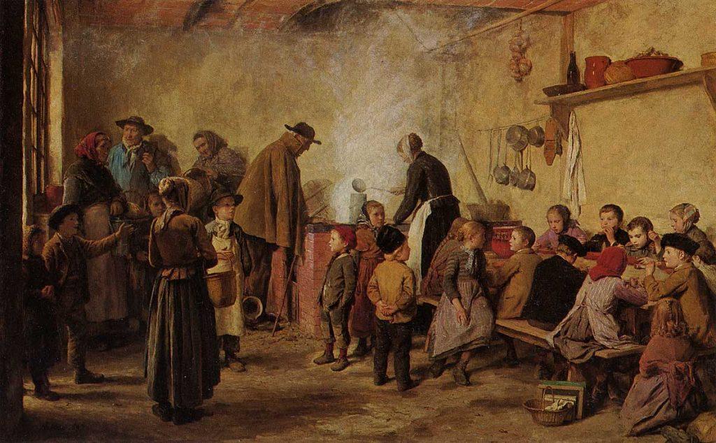 Een schilderij van Albert Anker waarop soep wordt uitgedeeld aan armen