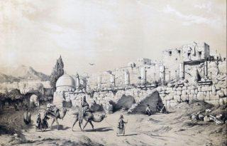Tekening van de tempel van Anahita door Eugène Flandin, 1840