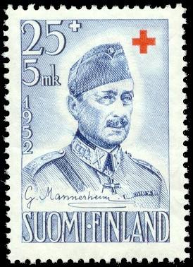 Mannerheim op een Finse postzegel uit 1952