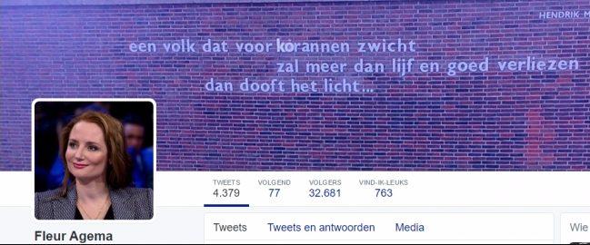 Twitterheader van Fleur Agema