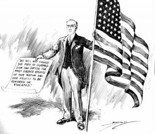 Woodrow Wilson op een politieke cartoon (Washington Evening Star 3 april 1917)