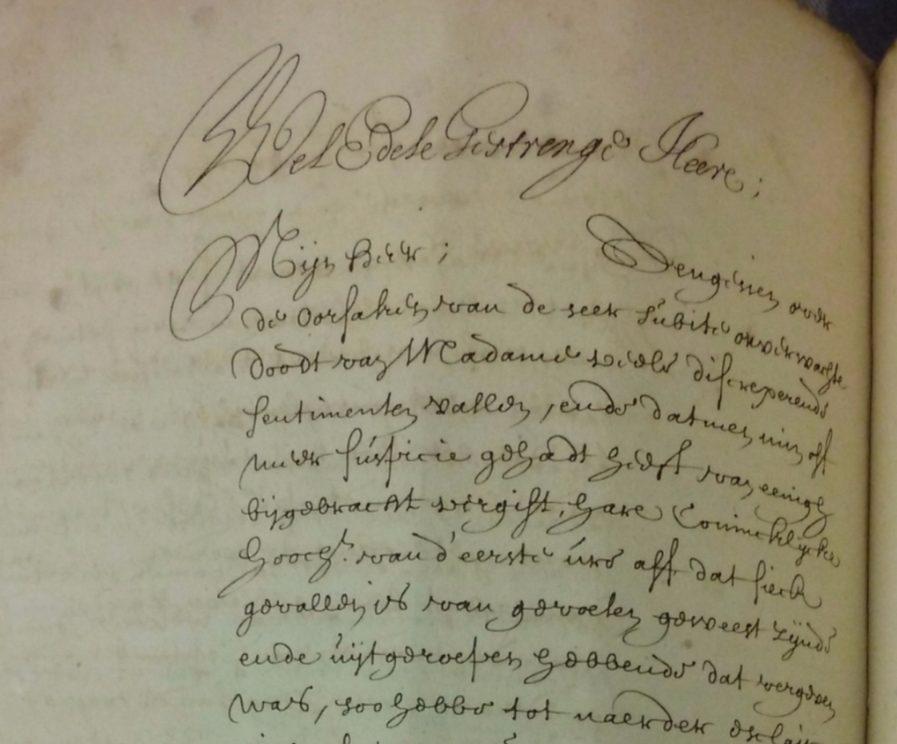 Fragment kopie brief van Rumpf aan De Witt over de plotselinge dood van Madame, 4 juli 1670, NA, 3.01.04.01 Staten van Holland na 1572, inv.nr. 1865: Stukken ingekomen bij de Staten van Holland, afschriften 1670.