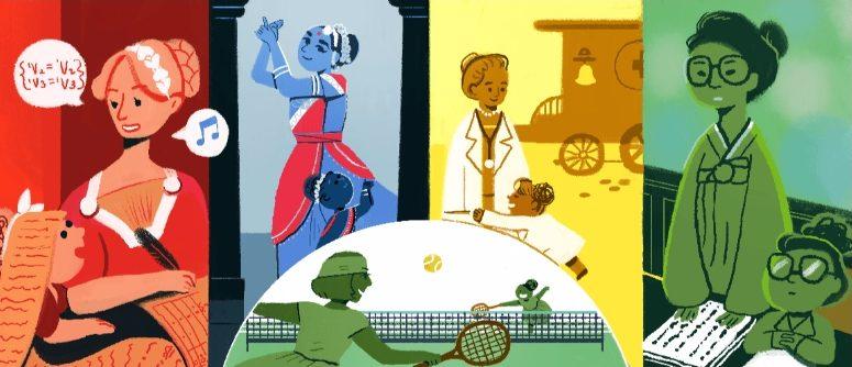 Afbeelding uit de Doodle ter gelegenheid van Internationale Vrouwendag