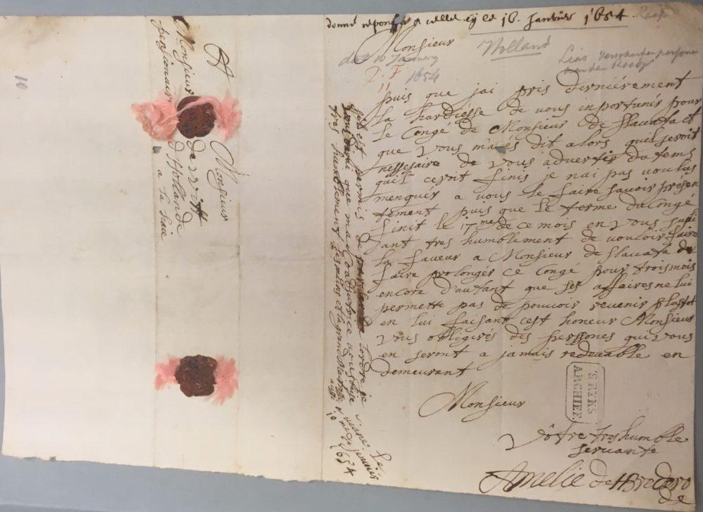 brief1 Brief van Amélie van Brederode aan Johan de Witt d.d. 10 januari 1654 NL-HaNA Raadpensionaris De Witt, 3.01.17; voorlopig inv. nr. 12.068