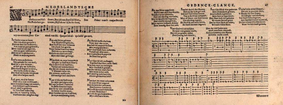 """""""Wilhelmus"""" door Adrianus Valerius in """"Nederlandtsche Gedenck-Clanck"""", 1626"""