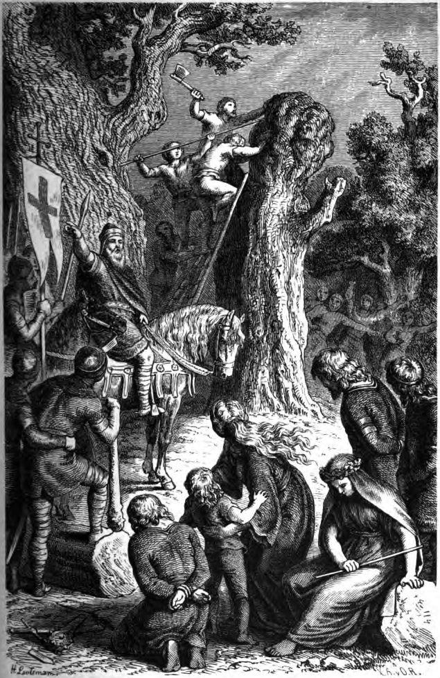 De vernietiging van de Irminsul door Karel de Grote – prent gemaakt door Heinrich Leutemann, 1882