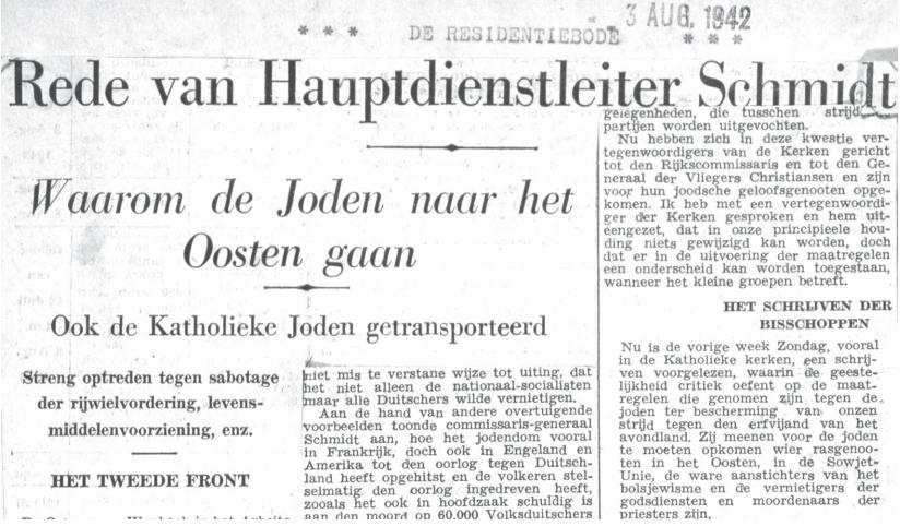 Berichtgeving in de Haagse De Residentiebode van 3 augustus 1942 over de geruchtmakende anti-Joodse rede van de Generalkommissar für besonderen Verwendung F. Schmidt.