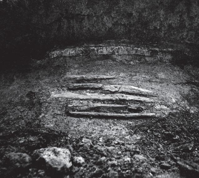 Dit zijn de overblijfselen van een haardplek, hart van een boerderij uit de late ijzertijd, gevonden in de Hargpolder, ten westen van Rotterdam. Fotocollectie Gemeentearchief Schiedam (catalogusnr. 13647)